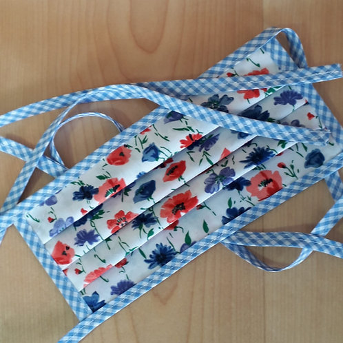 Red and Blue Flowers Pleated Mask