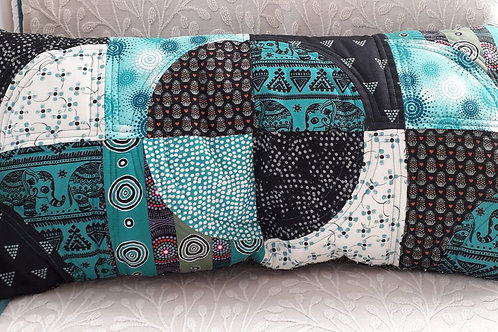 Turquoise and Black Patchwork Cushion Cover