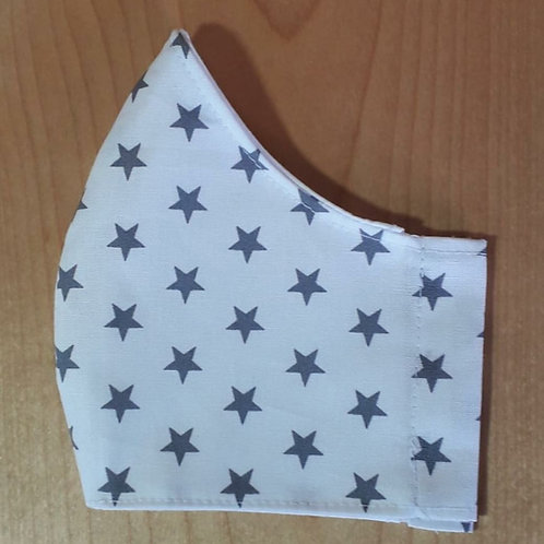 White with Grey Stars Shaped Mask