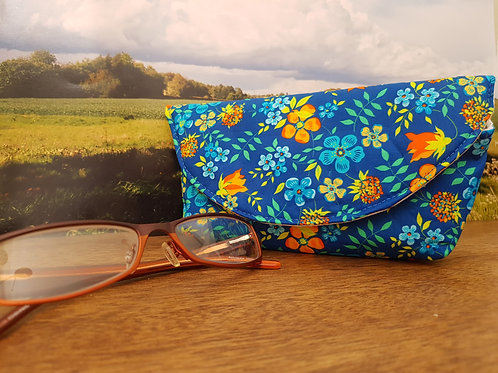 Blue and Orange Flowers Liberty Fabric Glasses Case