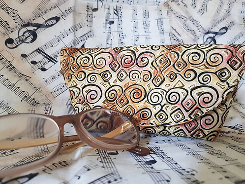 Black and Gold Swirls Glasses Case