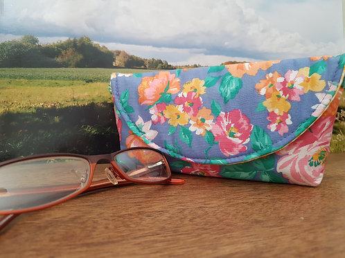 Blue Floral Glasses Case