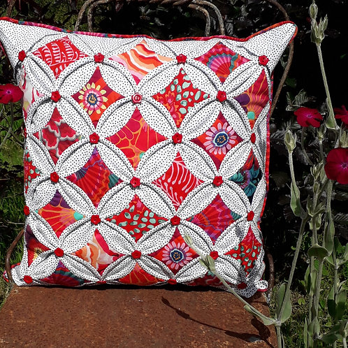 Red Cathedral Window Cushion Cover