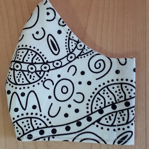 Cream with Black and Yellow Tribal Shaped Mask