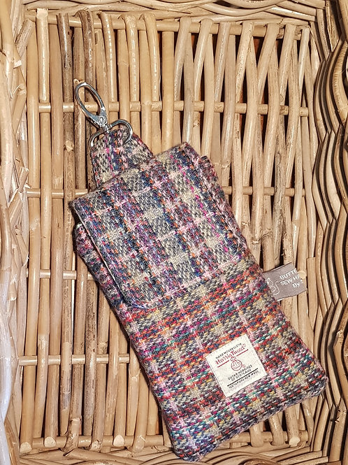 Clip On Pouch Large - Rainbow Harris Tweed