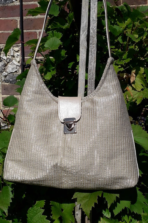 Pale Gold Weave Shoulder Bag
