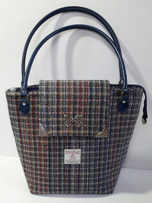 Navy and Rainbow Harris Tweed Tote Bag