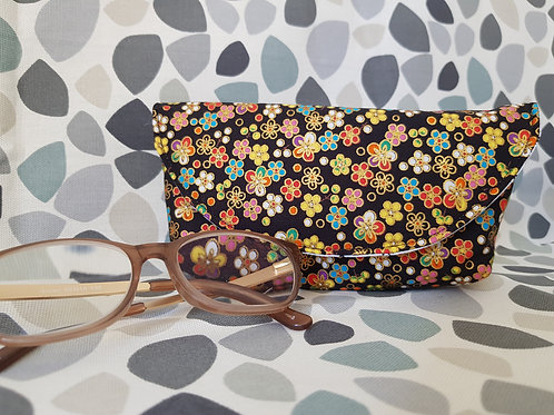 Black with Rainbow Flowers Glasses Case