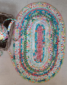 Jelly Roll Rug in the making