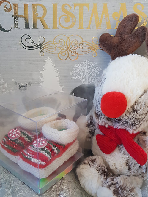 Small Multi and White Christmas Cosy Toes