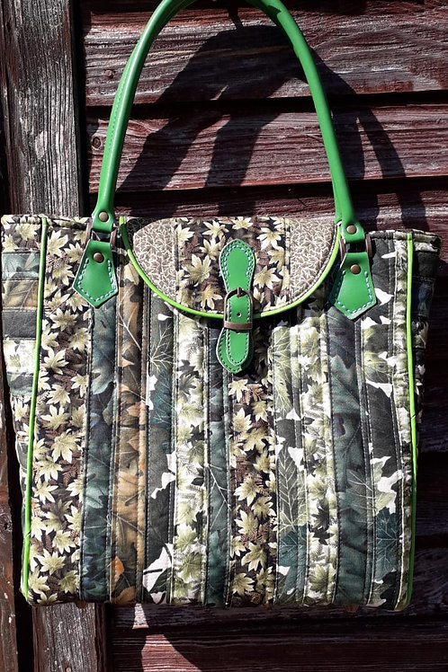 Green Strip Patchwork Tote