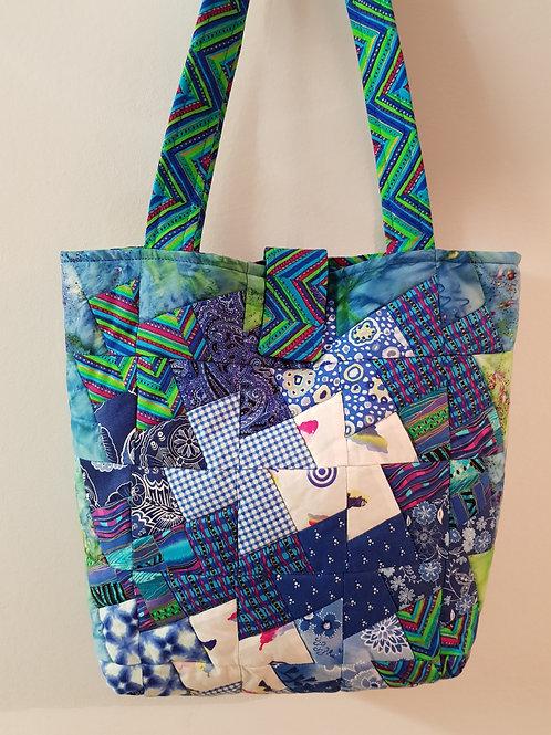 Blue Patchwork Twisted Pinwheel Bag