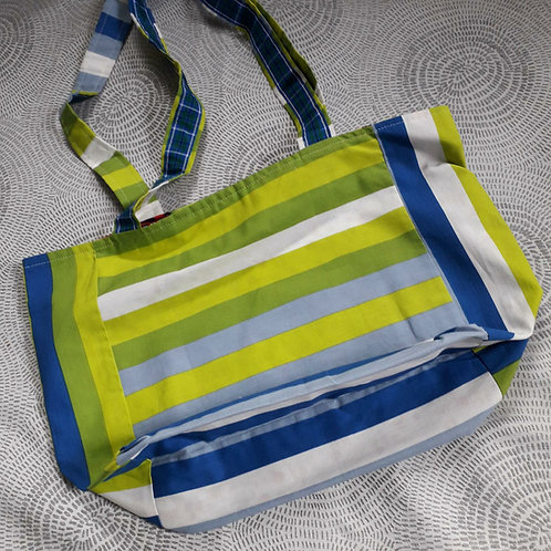Green and Blue Stripes Shopper