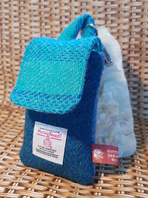 Clip On Pouch Small - Harris Tweed Teal