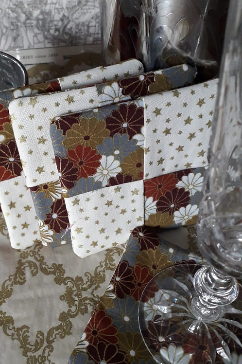 Silver Flowers and Stars Coasters
