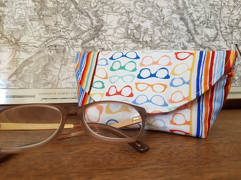 Rainbow Stripe and Pink Glasses Case
