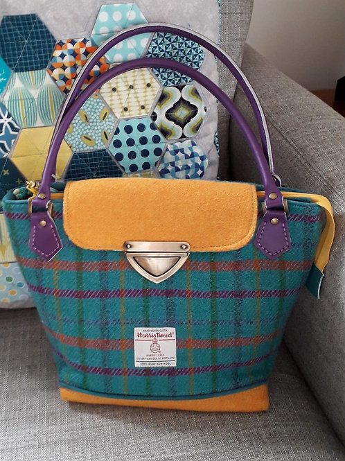 Yellow and Turquoise Tartan Harris Tweed Bag