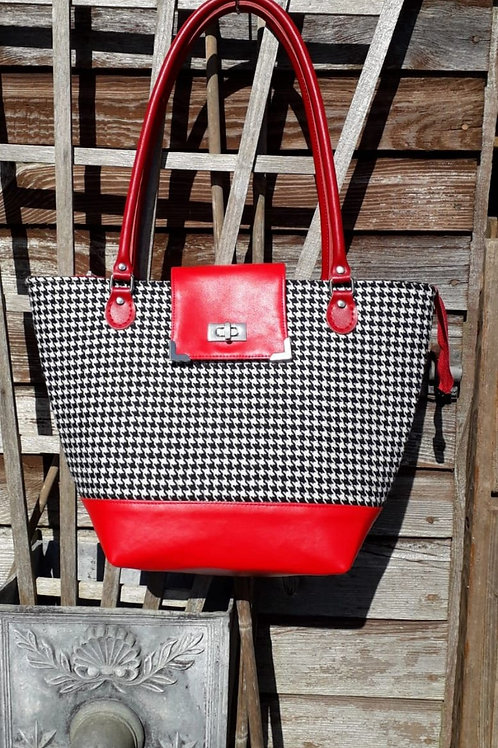 Black and White Houndstooth Tote Bag
