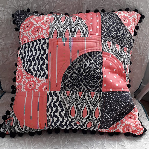 Salmon Pink and Black Patchwork Cushion Cover