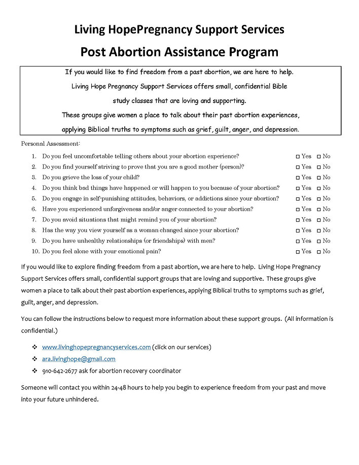 post abortion personal assessment flyer.