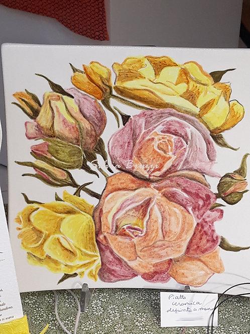 Piatto Rose simil maiolica
