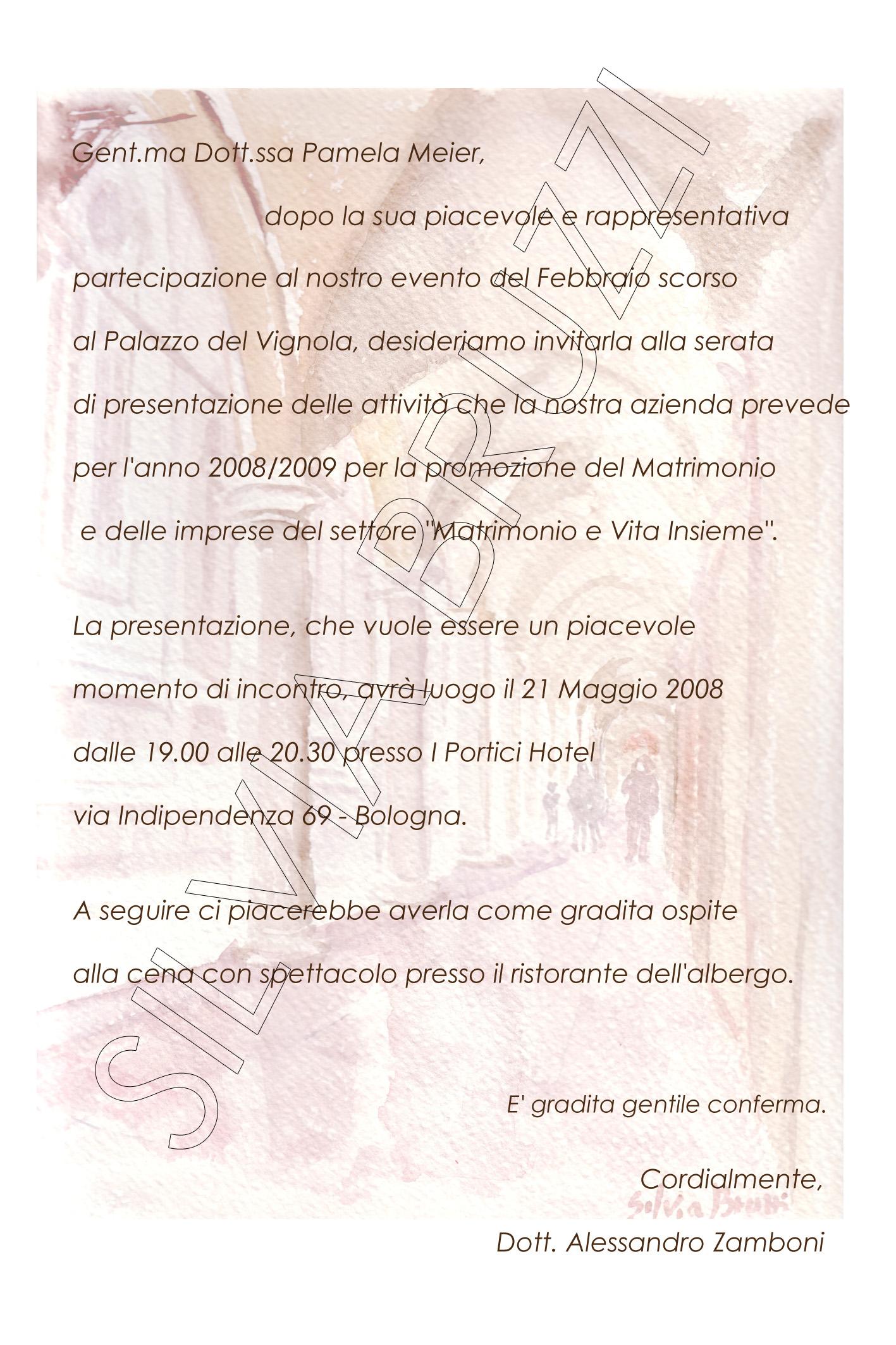 Biglietto Bologna e testo
