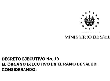 Decreto Ejecutivo No. 19