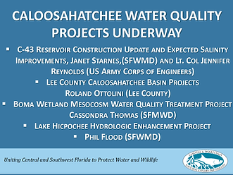 Caloosahatchee water quality projects underway first slide of presentation