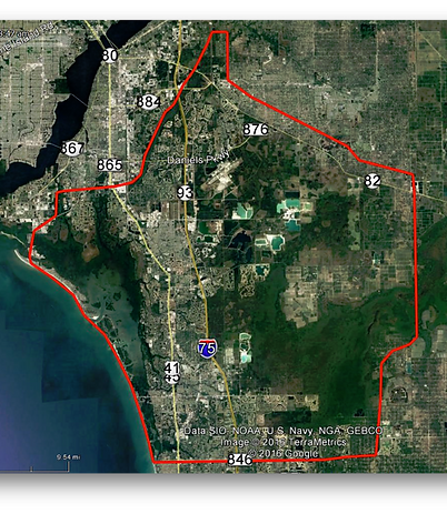 Aerial map of South Lee County