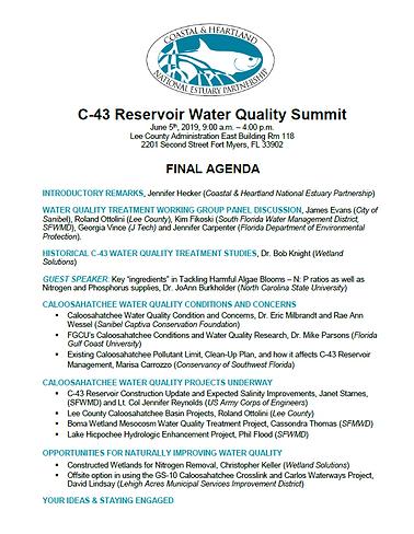 C-43 Water Quality Summit Agenda