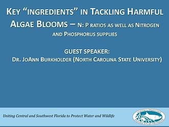 Key ingredients in tackling harmful algae blooms first slide of presentation