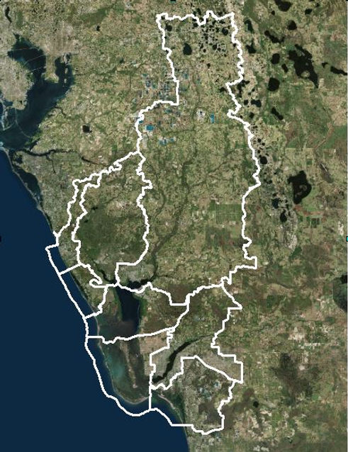 Aerial map of the basins with the CHNEP area