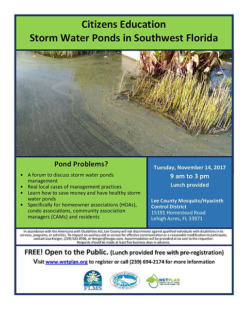 Citizens Education Storm Water Ponds in Southwest Florida