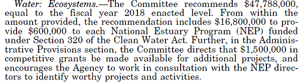 House Committee Report excerpt about water ecosystems