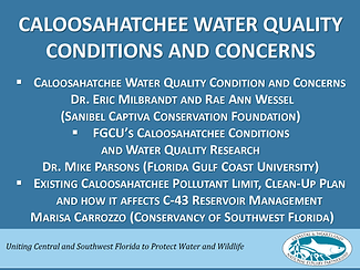 Caloosahatchee water quality conditions and concerns first slide of presentation
