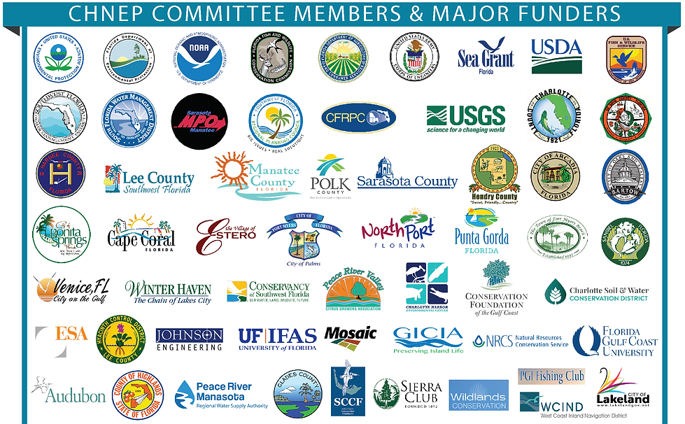 Logos of the CHNEP Committee members and major funders including the EPA, FDEP, NOAA, FWC, US Army Corps of Engineers, Sea Grant Florida, USDA, US Fish and Wildlife Service, SWFWMD, SFWMD, Sarasota MPO Manatee, Southwest Florida Regional Planning Council, CFRPC, USGS, Charlotte County, DeSoto County, Hardee County, Lee County, Manatee County, Polk County, Sarasota County, Hendry County, City of Arcadia, City of Bartow, Bonita Springs, Cape Coral, Village of Estero, City of Fort Myers, North Port, Punta Gorda, Town of Fort Myers Beach, City of Sanibel, Venice, Winter Haven, Conservancy of Southwest Florida, Peace River Valley Citrus Growers Association, Conservation Foundation of the Gulf Coast, Charlotte Soil and Water Conservation District, ESA, Johnson engineering, UF, Mosaic, GICIA, NRCS, FGCU, Audubon, Highlands County, Peace River Manasota Regional Water Supply Authority, Glades County, SCCF, Sierra Club, Wildlands Conservation, PGI Fishing Club, WCIND, and Lakeland
