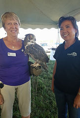 Participant holding an owl