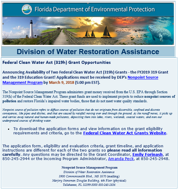 Federal Clean Water Act (319h) Grant Opportunities