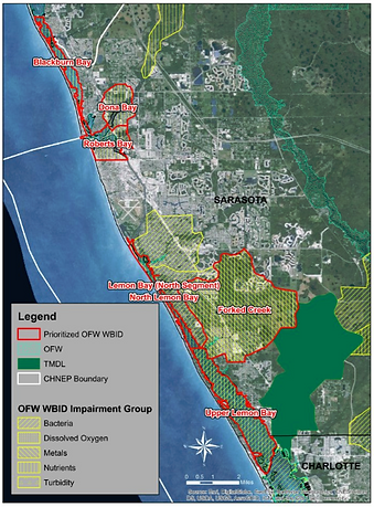 Water impairment map og Lemon Bay, Dona Bay, and Roberts Bay