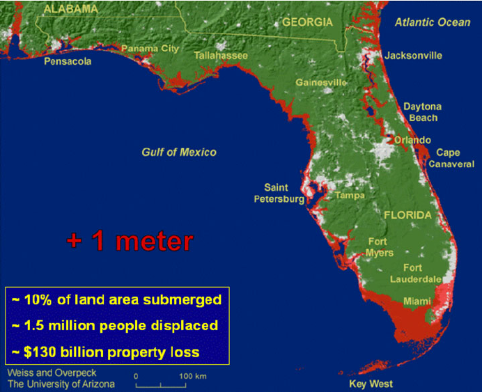 Diagram of the effect of sea level rise along the coasts of Florida