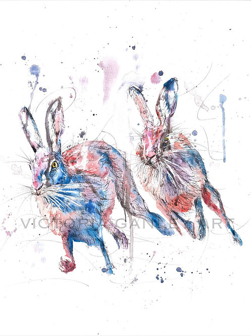 'The Chase' Watercolour Hares