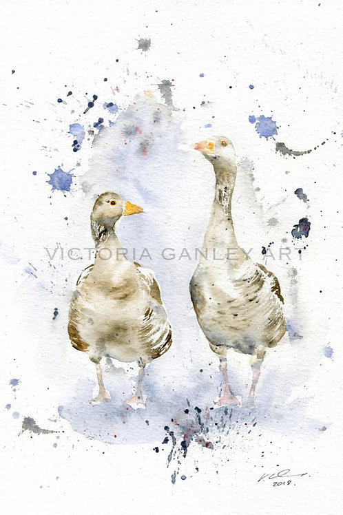 'Rainy Day' Watercolour Geese Print