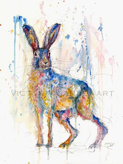 'Abstract Blue' Watercolour Hare