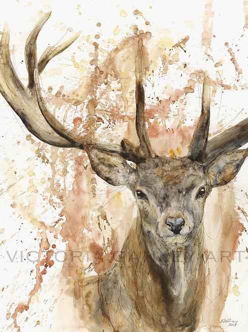 'Scarlet Fall' Watercolour Stag