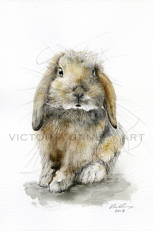 'Bunnykins' Watercolour Rabbit Print