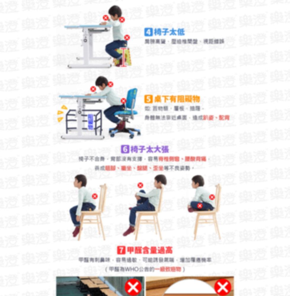 椅子太低、桌下有阻礙物、椅子太大張、甲醛含量過高