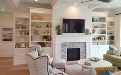 Utah white custom cabinets mantle bookshelves