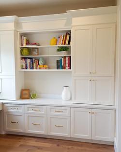 Utah white custom cabinets bookshelves