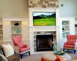 utah custom cabinets fireplace bookshelf