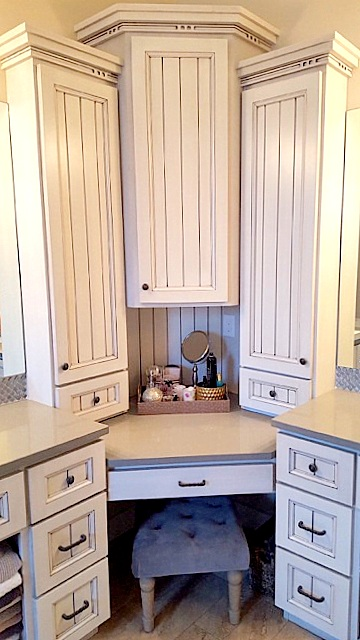 Utah custom cabinets white bathroom vanity make up desk